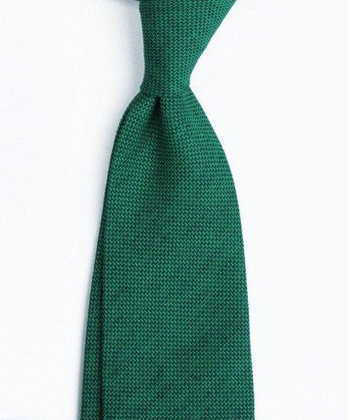 untipped linen jacquard green TIE