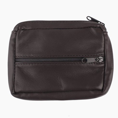 wallet with zipper dark brown
