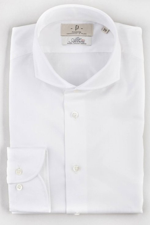 white delicate stripes formal shirt with spread collar