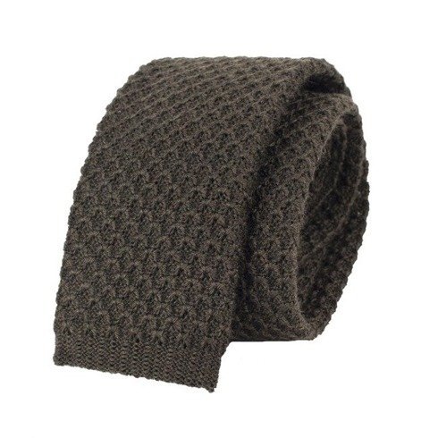 woolen brown knit tie