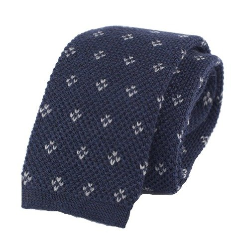 woolen navy knit tie