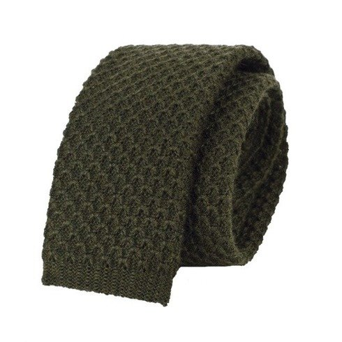 woolen olive green knitted tie