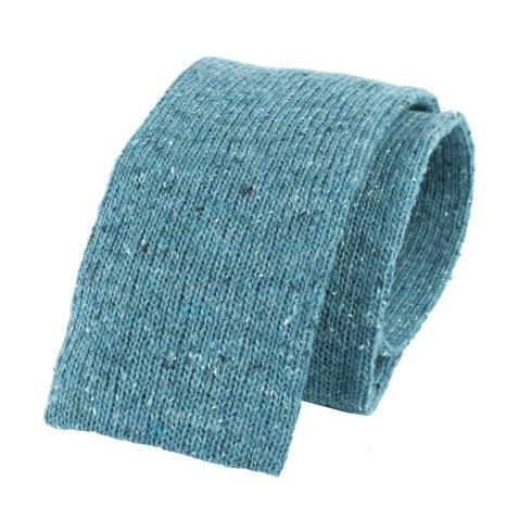 woolen turquoise green knit tie