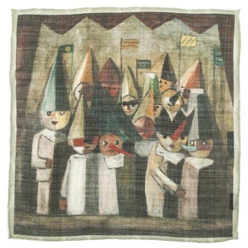 "ARTWORKS COLLECTION Tadeusz Makowski ""Children's Theatre"" Pocket square"