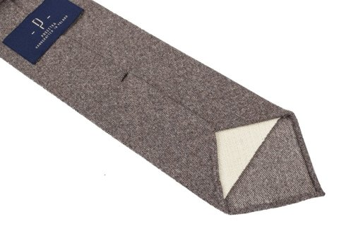 BEIGE FLANNEL UNTIPPED HANDROLLED TIE