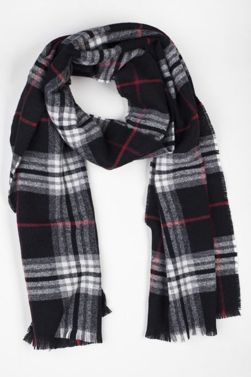 BLACK CHECKED WOOL & CASHMERE SCARF