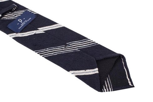 BLUE NAVY-WHITE SHANTUNG TIE REGIMENTAL