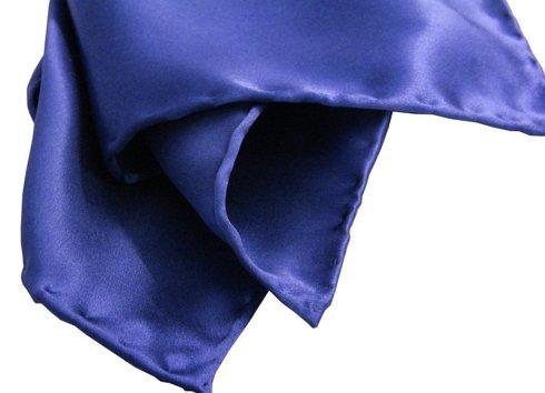 BLUE SILK SATIN POCKET SQUARE