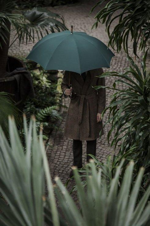 Bottle green wooden umbrella
