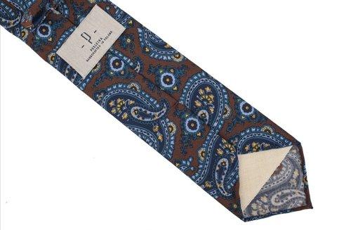 Brown Paisley woolen untipped tie