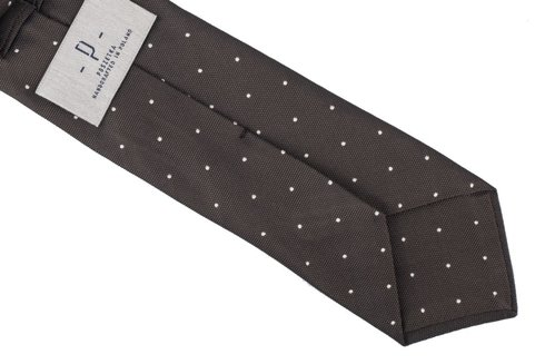 Brown silk jacquard polka dots tie 8 cm x 148 cm