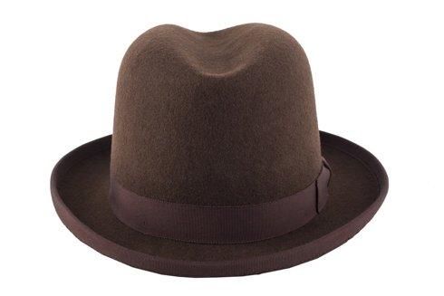 Brown wool Homburg hat