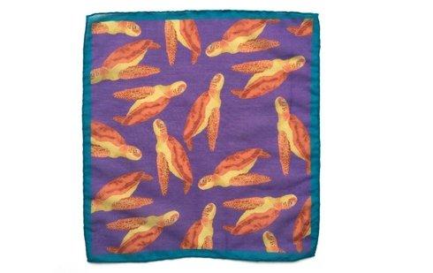 Cotton-Silk Pocket Square Turtles