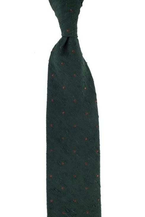 GREEN SHANTUNG TIE WITH DOTS