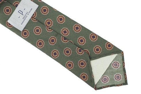 Green printed wool untipped tie
