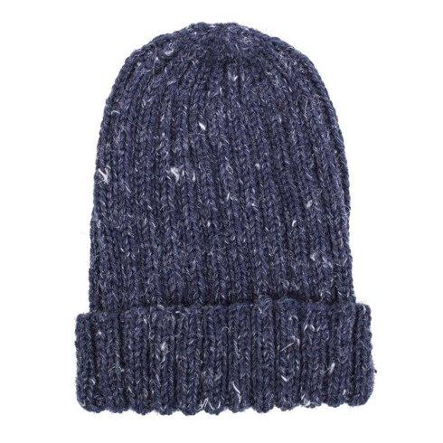 Hand-knit blue yarn beanie