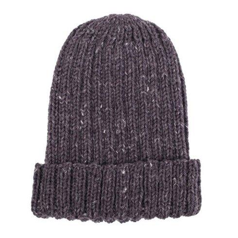 Hand-knit graphite yarn beanie
