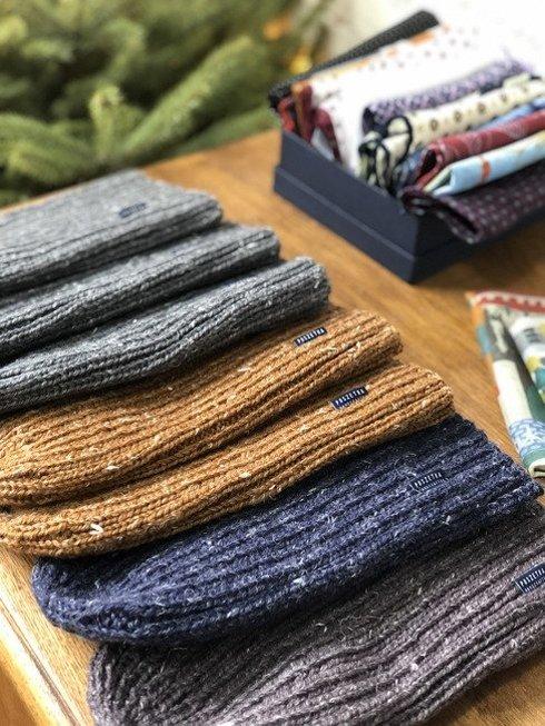 Hand-knit gray yarn beanie