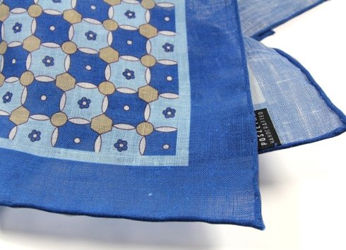 LINEN POCKET SQUARE GEOMETRIC PATTERN