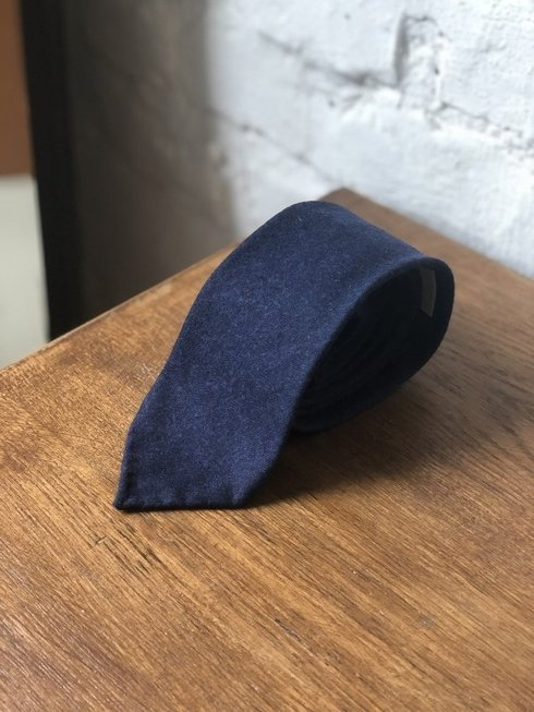 NAVY BLUE FLANNEL UNTIPPED HANDROLLED TIE