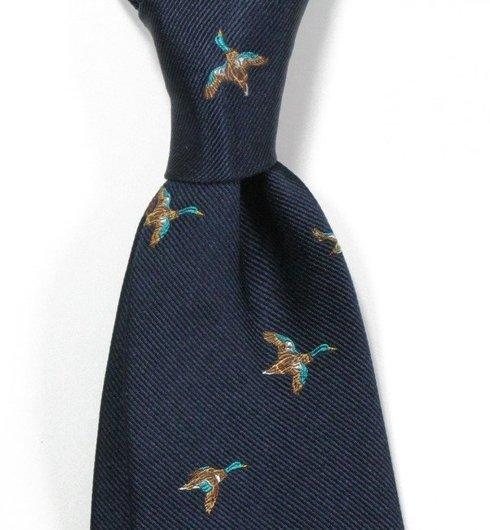 NAVY BLUE silk tie duck