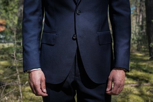 Navy blue classic suit 'Fred' 100% wool VBC