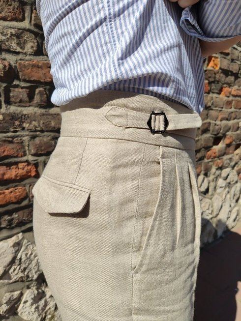Pleated linen  'Alfred III' trousers