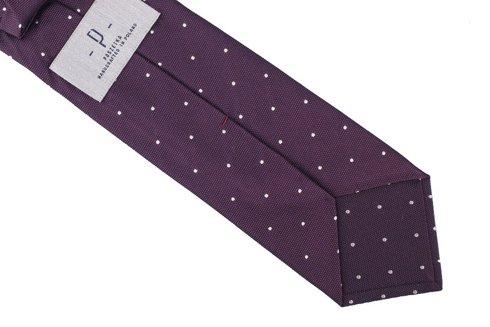 Plum silk jacquard polka dots tie 8 cm x 148 cm