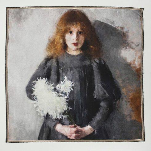 """Pocket square """"Girl with Chrysanthemums"""" Olga Boznańska"""