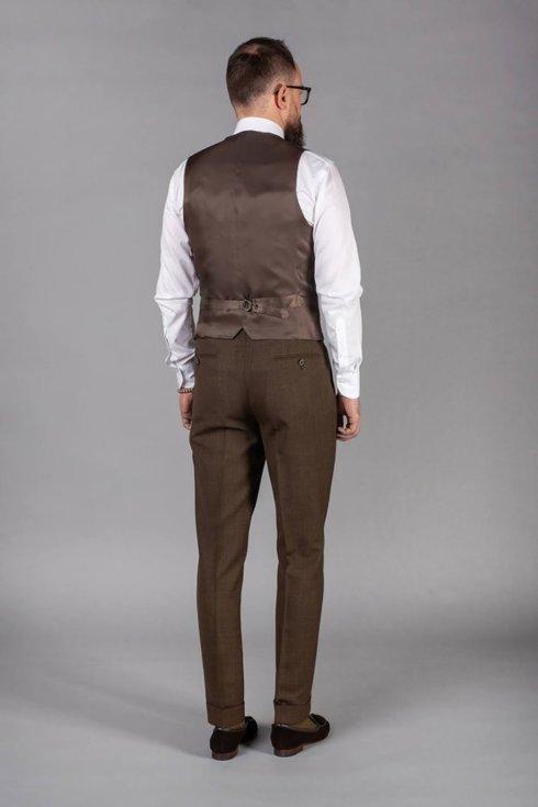 Preorder: brown check waistcoat 'Edward'