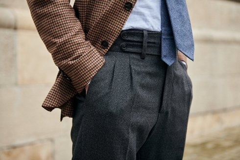 Preorder: wool houndstooth trousers