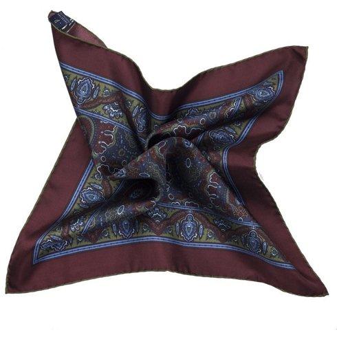 Silk paisley Macclesfield pocket square 40 cm