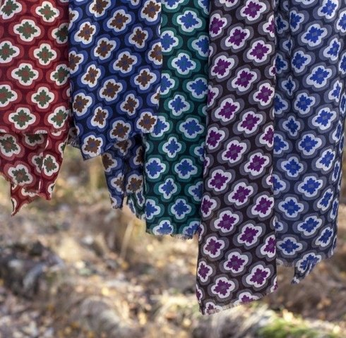 brick red printed scarf with yak wool
