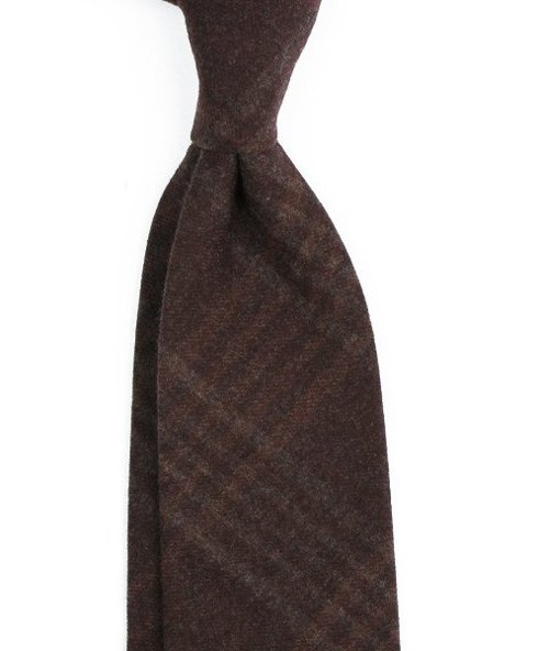 chocolate check cashmere TIE