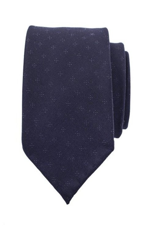 dark navy dotted untipped woolen tie