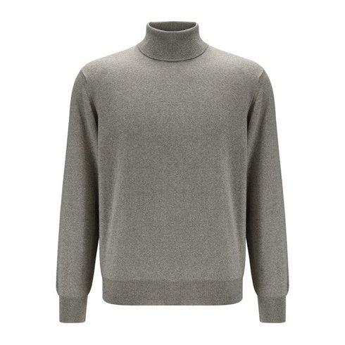 light merino wool turtleneck beige melange