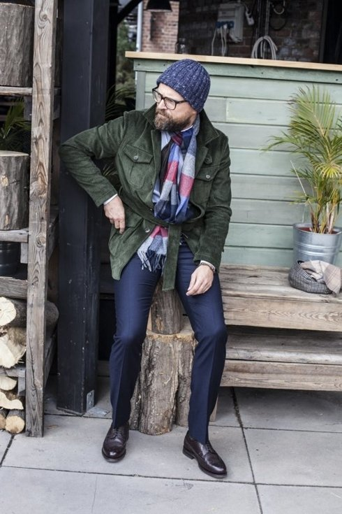 navy flannel trousers 'Alfred II'