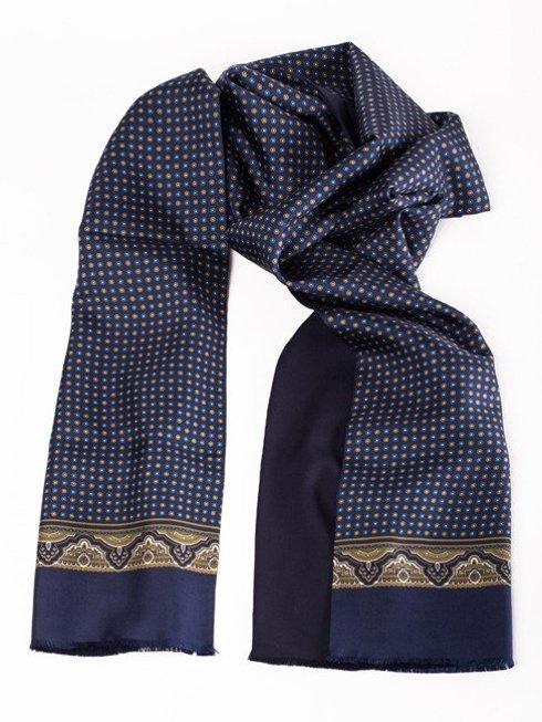 navy silk & wool scarf