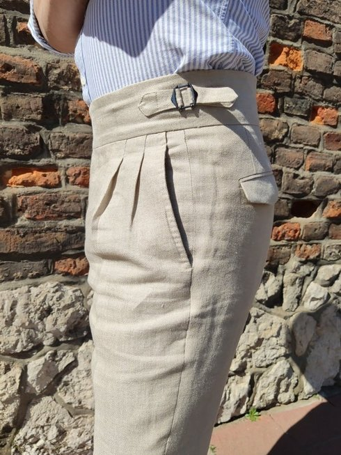 pleated linen trousers 'Alfred III'
