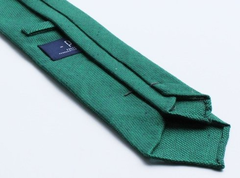 untipped linen jacquard green TIE