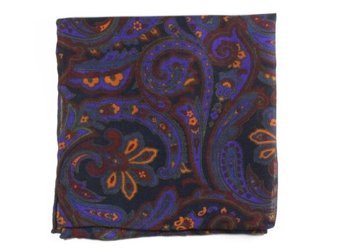 wool & silk paisley pocket square