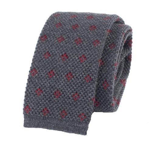 woolen gray knit tie