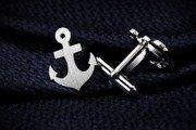 Silver Cuff Links Anchor