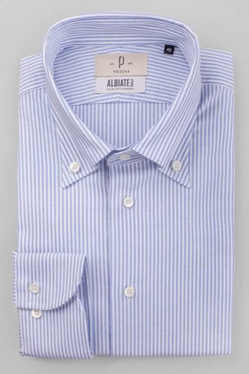 Bawełniana koszula OCBD w błękitny prążek
