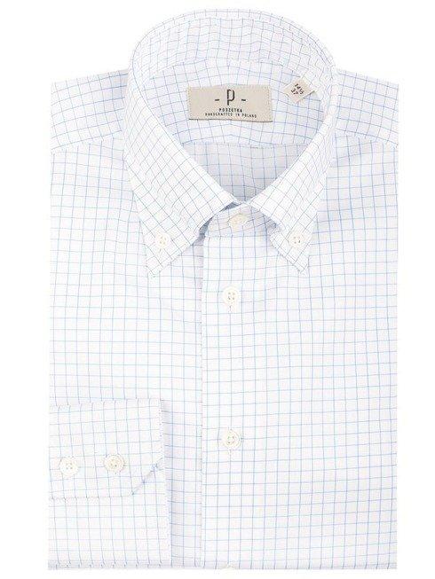 Biała koszula button-down w niebieską kratę