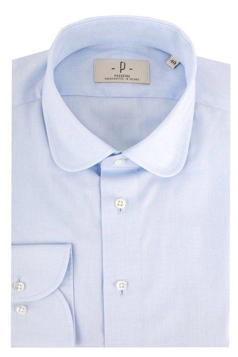 Błękitna koszula o splocie oxford z okrągłym kołnierzem