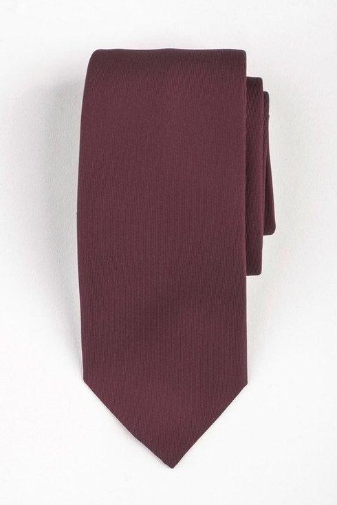 Bordowy krawat six fold z jedwabiu Macclesfield
