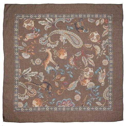Brązowa apaszka bawełniano- kaszmirowa 100 cm