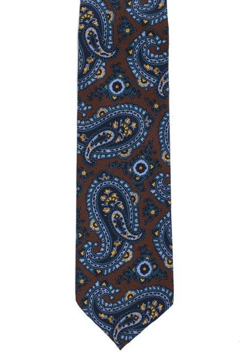 Brązowy paisley krawat bez podszewki z wełny drukowanej