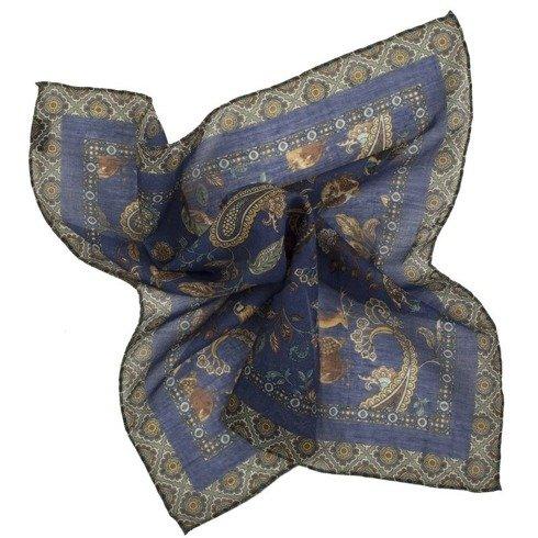 Granatowa poszetka z motywem zwierzęcym bawełna z kaszmirem 40 cm